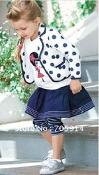 FREE SHIPMENT NEW ARRIVAL AUTUMN STYLE SCHOOL GIRL STYLE TOPS+OUT WEAR+PANT 5 SETS/LOT BABY'S SUITS GIRL'S SUITS 20120705B(China (Mainland))