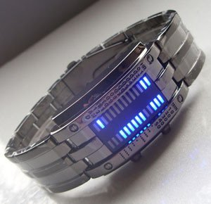 stainless steel Style LED military watch with 28 Blue LED lights for mans free shipping(China (Mainland))
