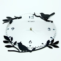 MOQ: 1 piece ! Free shipping high quality acrylic material quiet  quartz wall clock with branch and lovely birds