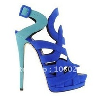new style blue fashion high-heeled shoes hollow out sandals
