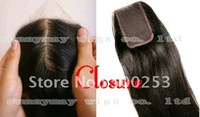 "Natural Color And Natural Straight Malaysian Virgin Hair Freestyle Silk Top Closure (4"" x 4"")"