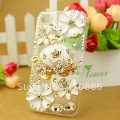 Free shipping /Rhinestone beling Crystal Diamond pearl Hard cell phone Case Cover for iphone4G/4S,3D pumpkin car