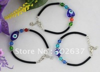 12PCS Blue Evil Eye Glass Beads Velvet Bracelets #21729