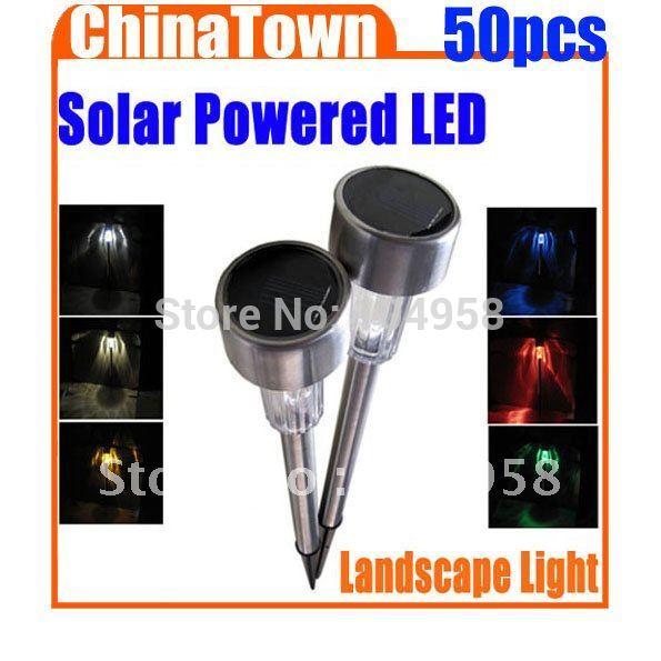 Solar Powered Outdoor Garden Light LED Home Sportslight Landscape Lamp Stainless Steel Express 50pcs/lot(China (Mainland))