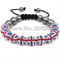 UK flag bead Shamballa jewelry Wholesale, New Shamballa Bracelets Clay soft Ball Bead