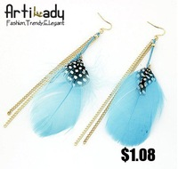 Artilady blue feather earrings gold chain design earring