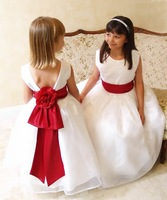 new flower girl dress for weddings red belt and bow dress children 2-8t free shipping