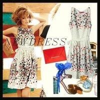 Free shipping/2012 Fashion summer women chiffon casual dress polka dot tunic sleeveless O neck elengant slim sexy dresses
