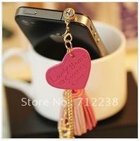 Mobile phone charm / mobile phone dust plug / headphone plug / love leather tassels Crown Pendant