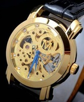 Наручные часы Best gift! Luxury Gold Tone Skeleton Stainless Steel Dial, Golden&Silver steel strap, Automatical Mechanical men's wrist watch
