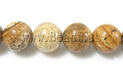 Free Shipping Picture Jasper Beads, Round, charming for jewelry making, 8mm, Hole:Approx 1mm , approx 48pcs/Strand(China (Mainland))
