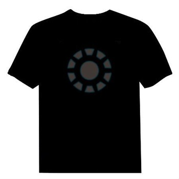Iron Man,Tony Stark,Arc Reactor,MK IX Armor  EL T-Shirt Sound Activated Flashing LED T-Shirt Free Shipping