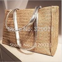 Popular summer necessary big pure color straw bag beach bag
