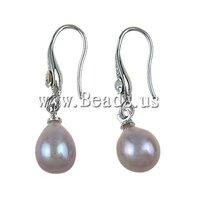 Free Shipping Freshwater Pearl Brass Earring, rhinestone brass hook & pearl earring drop, 8-9mm, Sold by Pairc