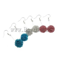 Free Shipping Iron Wire Ball Earrings, mixed color, fashion drop earring, 14.5x48mm, 24Pair/Bag, Sold by Bag