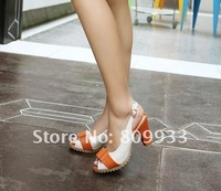 Popular spell color shoes simple and wild fish head women sandals, fashion crude with high-heeled ladies sandals