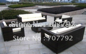 Poly rattan outdoor modern sofa set