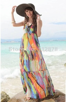 2013 new fashion style bright color wedding dress women Sling beach bohemian  casual dress CL009