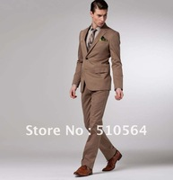 Free shipping cotton casual slim suit Custom made Men two botton jacket Flat front pants dark khaki casual Suit