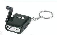 Wholesale,200pcs/lot,wind up Dynamo torch black  color  2pcs led  dynamo keychain flashlight ,free shipping