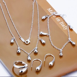 S0218 whoelsae 925 silver jewelry set fashion water drop pendent necklace+bracelet+ring+earring set jewelery costum jewelry sets(China (Mainland))