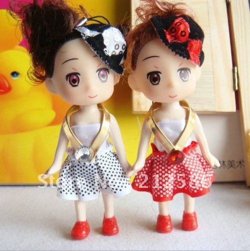 Free Shipping Wholesale (24pcs/lot) 10cm baby soft dolls with fash hat and skirt as phone charm, wedding gift, bag charms,(China (Mainland))