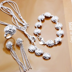 S0241 whoelsae 925 silver jewelry set fashion rose pendent necklace+bracelet +ring+earring sets jewelery costum jewelry sets(China (Mainland))