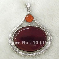 Wonderful Fashion K-Gold Plated Copper Red Agate Gems Gemstone Jewelry Necklaces Pendants Beads Wholesale Free Shipping