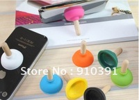 Free Shipping Retail Pack multi-purpose iPlunger Plunger sucker stand for mobile/smartphone/MP3MP4MP5,novelty mobile holder.
