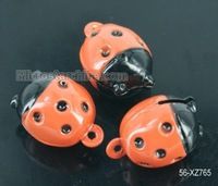 15pc Wholesale Enamel Ladybird Beetle Ladybug Cartoon Copper Holiday Bell Charms 25.9*18.7*17.5mm
