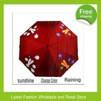 DHL Free shipping+New Coming 10pcs/lot Magic Color changing Folding Unique Rain Umbrella+3 Folding+8K+Good Quality