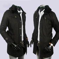 новые значки двубортный воротник пункт в длину мужчины пальто ветровка