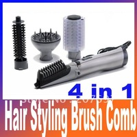 Free shipping hair styling brush comb 4in1 rotating brush hair combo include retail package 110V/220V can choose