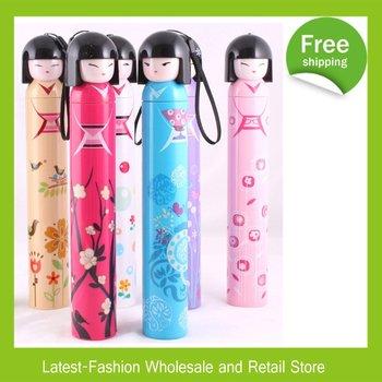 DHL Free Shipping+Wholesale 10pcs/Lot Umbrella Japanese Girl Doll Cartoon Umbrella 3-Folding Umbrella With retail box