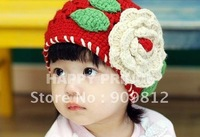 Free Shipping Large red flowers children cap, Pure hand cotton thread girls hat, Spring autumn cap, red color 40g