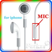 Free Shipping New in ear 3.5mm MIC earphone For iPhone 4 3GS iPod Headset Earphone (White) 200pcs/lot