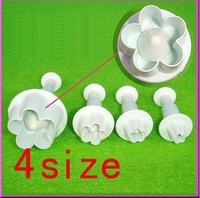 4pcs /set Cake Cookie Press Print small Plum Blossom Spring Flower Moulds, Toast Bake Bakery Tools