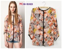 Женские блузки и Рубашки Top brand style 2013 Popular short hollow out sleeve solid Women loose casual chiffon Blouses, 4 color size