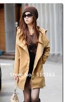 Free shipping 2012 winter long design faux OL slim thickening woolen outerwear women's overcoat 8989Y