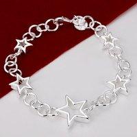 H178 Wholesale Star Charm Silver Bracelet new 2014 innovative items Prata pulseras bijouterie Mujer accessories pentagram