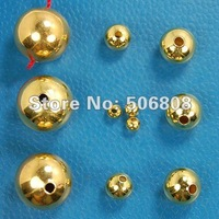 3mm, 4mm, 5mm, 6mm, 8mm, 10mm Metal Gold Plated Round Smooth Metal Spacer Beads Seamless Jewelry Findings, Pick Your Size