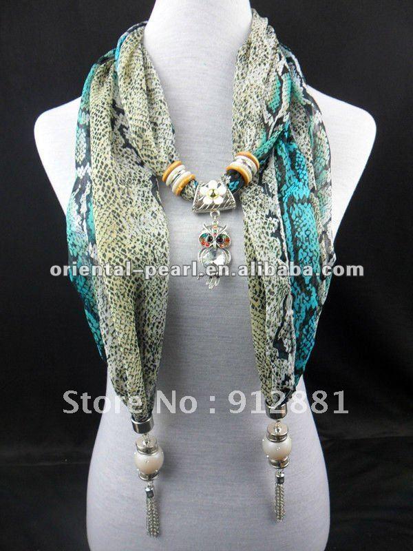 Hot long printing scarf necklace fashion charm pendant scarf(China (Mainland))