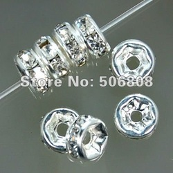 6MM Crystal Rhinestone Rondelle Spacer Beads, Silver Plated With Clear Spacers, DIY Basketball Wives Beads100PCS/LOT(China (Mainland))