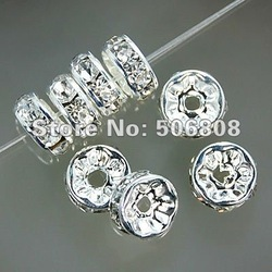 8MM Crystal Rhinestone Rondelle Spacer Beads, Silver Plated With Clear Spacers, DIY Basketball Wives Beads100PCS/LOT(China (Mainland))