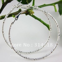 58mm 24pairs Big Circle Earrings Sterling Silver Polished Hoop Earrings Free Shipping
