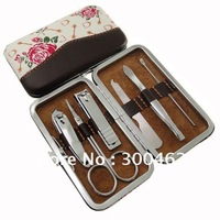6pcs Rose Design Carbon Steel manicure set Gift Box nail clipper manicure tools set Free Shipping
