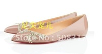 new arrive Diamond wedding shoe fashion pointed Coat of paint Low-heeled shoes Red bottom shoes