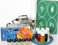 free shipping  Hot sell gold phoenix temporary Airbrush tattoo kit 110-230v power supply+ brush gun