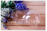 Free shipping wholesales 9cm hanging christmas baubles clear plastic ball favor box 2part bauble with separator spheres