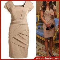 Free shihpping Wholesale women's designer High quality British Princess style slim cotton dress black khaki S M L XL MIC003